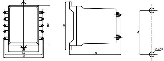JZS-127外形及安装开孔尺寸图