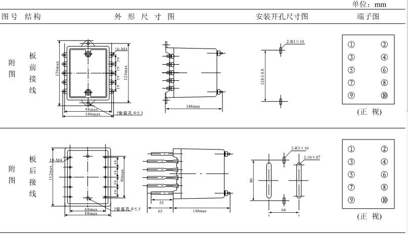DZB-127外形及开孔尺寸