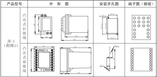 JZS-7/326外形及安装开孔尺寸图