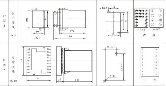 JZB-16B外形及安装开孔尺寸