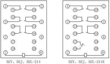 DZJ-214、DZJ-214触点形式图
