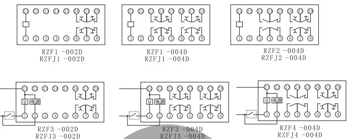 RZF-D内部接线图(正视图)