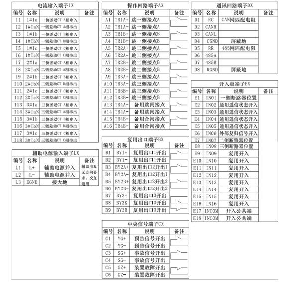 通用型微机差动保护装置接线端子图
